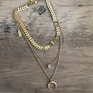 Lulu's | Crescent Gold Chain Boho Layered Necklace